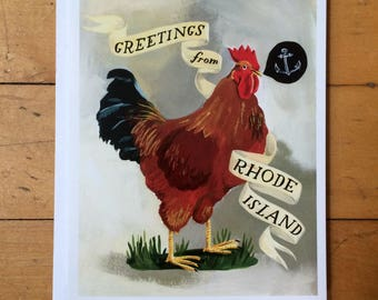 Rhode Island Red rooster chicken blank notecard. Blank greeting card.