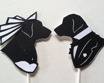 Custom Dog Wedding Cake Topper Silhouettes, Hand Cut Paper, Original Artwork