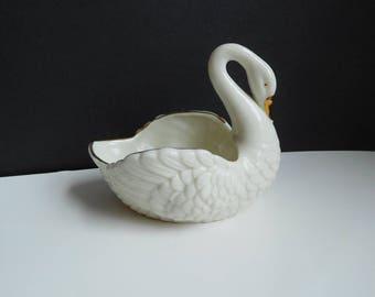 Vintage porcelain swan dish