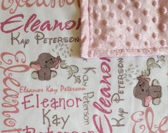 Personalized Baby Blanket, Monogrammed Baby Blanket, Swaddle, Receiving Blanket, Baby Gift, Nursing Blanket, Elephant Blanket