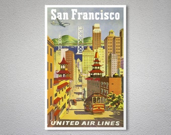 San Francisco United Airlines Travel Poster - Poster Print, Sticker or Canvas Print / Gift Idea