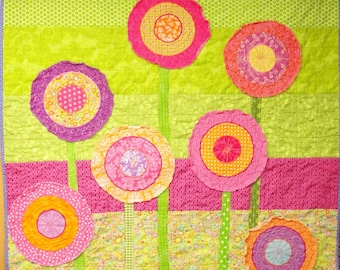"""Poppy baby quilt -poppies baby/ wall art quilt- """"elation!"""" in pink, purple and orange on green - Ready to ship- Ships free to USA"""