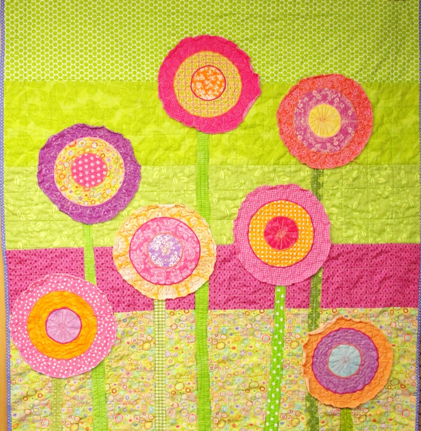 Poppy baby quilt poppies baby/ wall art quilt