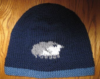 Beanie Hat F*cking Sheep Humping Sheep  Hat Adult Size Hand Knit Wool Free US Shipping