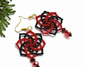 Red Beaded earrings Small Hoop earrings Seed bead earrings Hand Made Gifts Black Earrings Black Jewelry Boho earrings earrings handmade