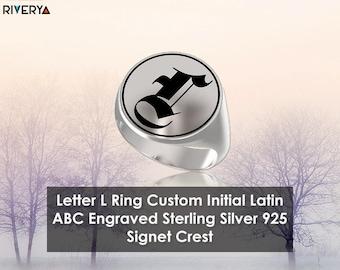 Custom Initial Ring ,Letter L ring, Monogram Ring, Letter Rings, Signet Ring, Round Ring, 925 Sterling Silver Ring