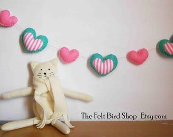 Pink heart garland - Mint heart garland - Felt heart garland - Heart garland - Nursery garland - Baby shower garland - Felt hearts