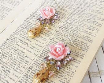 Tea Roses Earrings, Pink Rose earrings, chandelier Dangles, Dainty earrings, Antique Gold drops, Assemblage, One Offs, Rhinestone accents