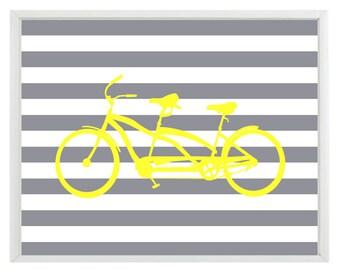 Bicycle Tandem Bike Wall Art Print  - Yellow Gray Stripes - Nursery Children Room Home Decor