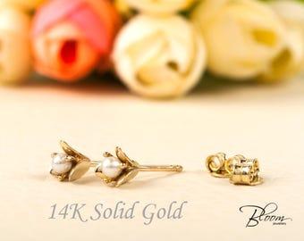 Freshwater Pearl Stud Earrings 14K Solid Gold Stud Earrings Gold Pearl Studs White Pearl Earrings Gold Pearl Earrings BloomDiamonds