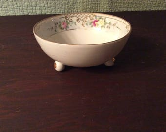 Vintage Nippon Porcelain Footed Bowl with Flowers