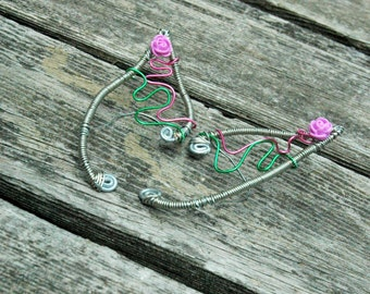 Swirling Pink Rose Vine Elf Ear Cuffs