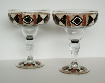 Large Hand Painted Sponged Kapa Design Vintage Margarita Glasses Signed