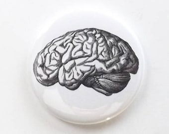 Fridge Magnet Brain human anatomy medical science gift geekery goth black and white doctor nurse physician
