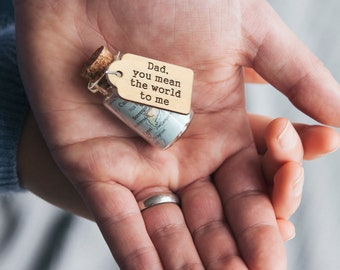 Personalised Map In A Bottle Hanging Keepsake - world map gift - gift for a traveller - gift for dad - fathers day gift - gift for him