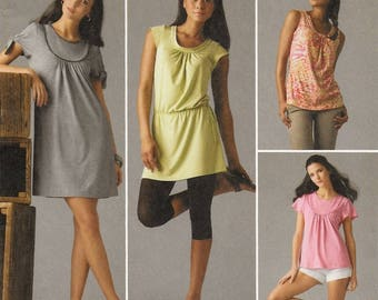 "A Sleeveless, Cap, or Short Top, Tunic & Mini Dress Pattern for Women: Uncut - Sizes 6-8-10-12-14, Bust 30-1/2"" - 36"" ~ Simplicity 2934"