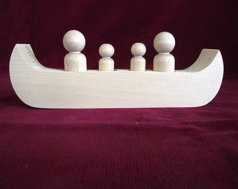 Family Canoe for 4: Unfinished Wood Toy with Peg Dolls