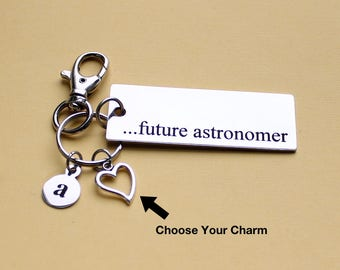 Personalized Astronomy Key Chain Future Astronomer Stainless Steel Customized with Your Charm & Initial - K763