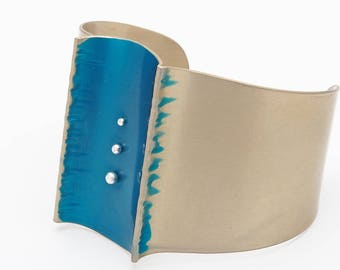 Teal and Gold Aluminum Cuff - Fold and Curve Collection