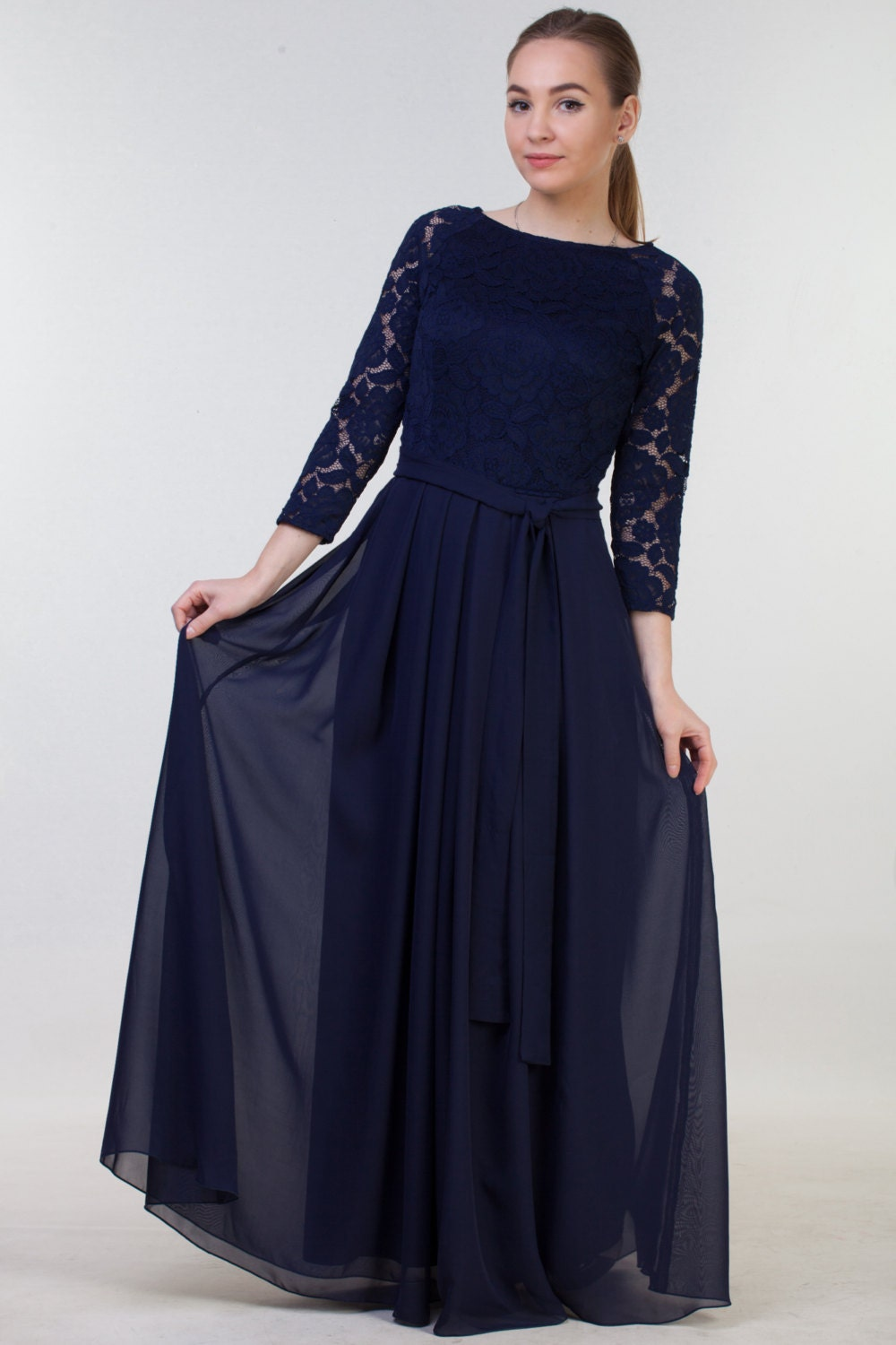 Long navy blue bridesmaid dress with sleeves navy blue lace description lace navy blue dress with chiffon ombrellifo Gallery