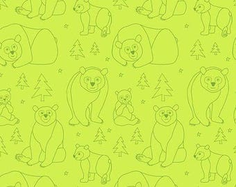 Brown Bear Doodles on Green from Eric Carle's Beary Happy Collection from Andover Fabrics