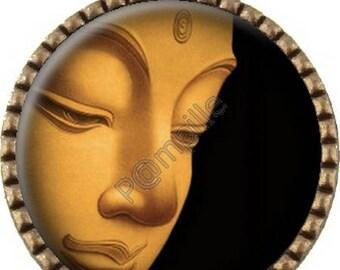 Bronze pendant Cabochon - gold Buddha - (108)