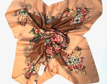 Vintage Talbots NWOT 100% Silk Twill Scarf floral paisley design - warm rose, brown colours
