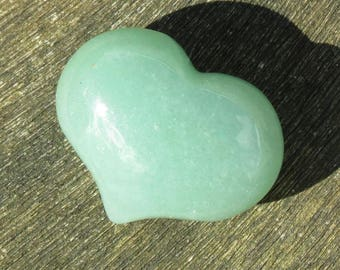 Green Aventurine Puffy Heart Worry Healing Stone!
