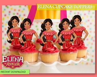 Elena of Avalor Cupcake Toppers, Princess Cupcake Toppers, Elena of Avalor, Elena of Avalor Toppers,  Elena of Avalor Party, Digital File