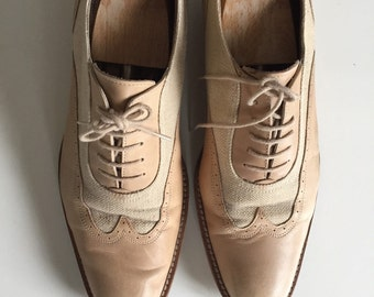 Luxe leather and raffia vintage brogues
