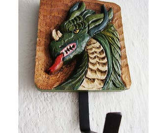 Wall coat hanger with dragon figure carved in wood/coat rack wood with relief of dragon