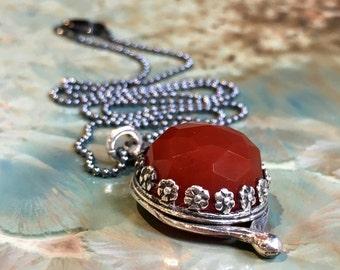 Carnelian necklace, floral necklace, silver pendant, floral necklace, rustic orange gemstone necklace, botanical jewelry - Unique love N2065