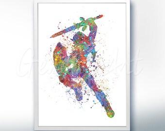 The Legend of Zelda Link [1] Watercolor Art Poster Print - Wall Decor - Watercolor Painting - Watercolor Art - Kids Decor- Nursery Decor