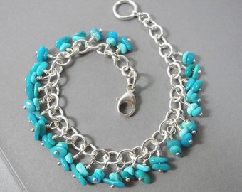 Exquisite Sleeping Beauty Turquoise Bracelet, Sterling Silver Link Bracelet, Southwest Style Luxury