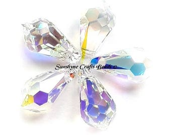 Swarovski Crystal Beads 6000 2pcs CRYSTAL AB Teardrop Faceted Pendant - Sizes 11mm, 13mm & 15mm available