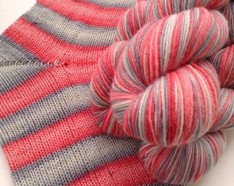 Hand dyed self striping sock yarn - Secondhand Rose
