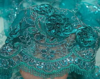 Jade 3D Melissa Double Floral Embroidered with Sequin Foil Mesh Scalloped Lace Fabric by the Yard-Style 5006