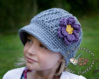 Crochet newsboy hat pattern, newsboy hat pattern, crochet pattern, flower pattern, Womens crochet newsboy pattern, girls hat pattern