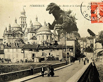 Vintage postcard of Godzilla attacking the Cathedral of Saint-Front