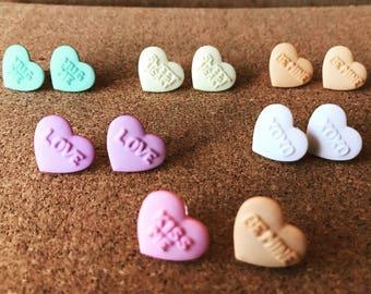 Candy Conversation Heart earrings