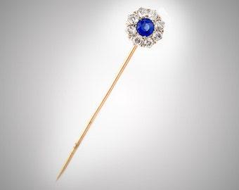 Platinum & 14k yellow .65 ct blue sapphire eight .11 ct diamonds stick pin antique