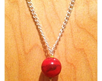 Red turquoise bead necklace with pea green beads