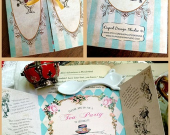 Alice in Wonderland invitation, Alice and wonderland wedding invitations, Mad hatter tea party invitation, Alice through the looking glass