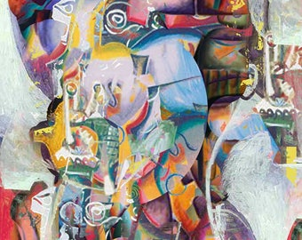 Promised Land Mammal - Free shipping! Abstract digital art - Paper, stretched canvas, Giclee Print