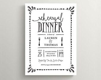 Printable Wedding Rehearsal Dinner Invitation \\ Rustic Wedding \\ Black and white invite (RD69)
