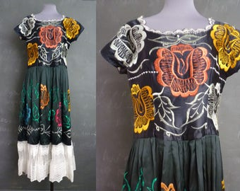 Vintage Mexican Dress  Frida Kahlo Satin Floral Lace Skirt Chiapas Maxi