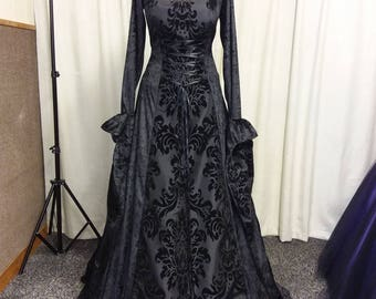 Gothic dress, black medieval dress, prom gown, renaissance gown, medieval hooded dress, bridesmaid, halloween witch costume