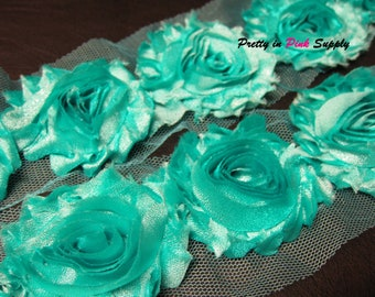 SHIMMER TURQUOISE  Shabby Rose Trim - Shabby Chiffon Rosettes - 1/2 Yard or 1 Yard - Shabby Flower Trim - Wholesale Shabby Flower - Chiffon