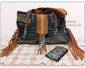 Suede denim bag, brown fringed bag, boho festival bag, leather messenger bag, bohemian bag, blue tan hippie bag, Aztec bag, shoulder bag