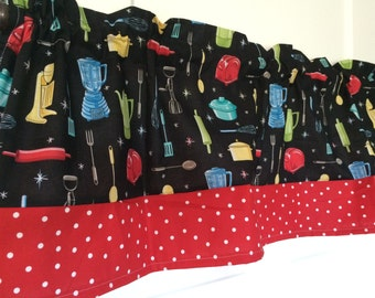 Retro Kitchen Appliance Curtain valance with red polka dot border